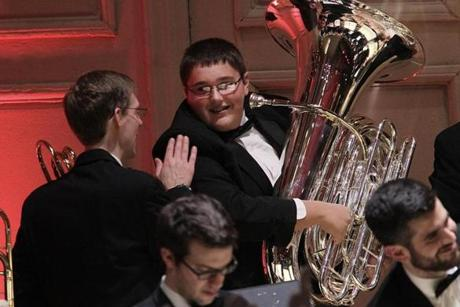 A Boston Pops musician congratulated Ryan McAvoy after his performance.